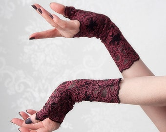 Fingerless Gloves | Wine and Sass | Festival Accessories, Gloves Women, Lace Gloves, Lace Arm Warmers, Maroon Arm Warmers