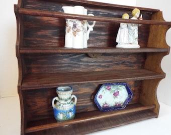 primitive French style wood plate rack letter holder wall hanging shelf Kitchen display dish shelf 3 & Plate rack shabby | Etsy