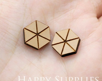 4pcs (SWC215) DIY Laser Cut Wooden Geometry Charms