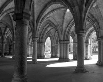 Glasgow University Cloisters, Scotland Fine Art Photography Print Black & White