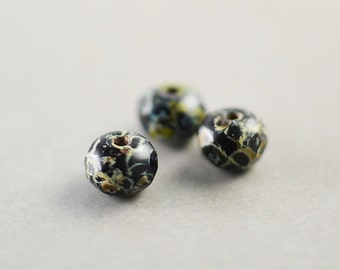 Black Cream Aqua Beads, Czech Glass, 6mm Picasso Beads, Three
