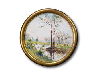 River Watercolor Painting, French Vintage Painting in Medallion Frame, Gold Wooden Frame, Shabby French Home