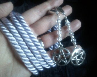 Wiccan Pentacle - silky twisted handfasting cord with bead embellishments