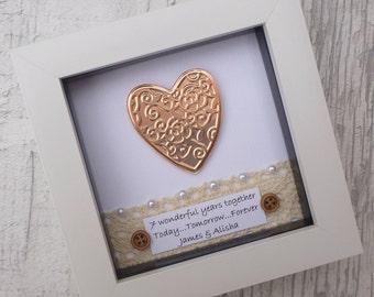 Personalised 7th anniversary, copper anniversary gift, 7th copper anniversary, 22nd wedding gift, 7th anniversary, 22nd anniversary, framed