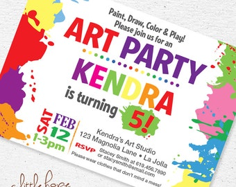 """Art Party Invite Invitation / Rainbow Party / Art Party Printable 4"""" x 6"""" or 5"""" x 7"""" / FREE Thank You Set! / Craft Party / Painting Party"""