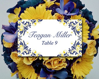 "DIY Wedding Place Cards Template   Navy Blue Yellow  ""Maggie""  Escort Card   Wedding Table Card   Wedding Escort Card FLAT Wedding Reception"