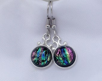 Dichroic Glass Earrings // Everyday  // Circle // Classic  // Silver // Casual Earrings // Fused Glass // Sterling  // Gift Idea