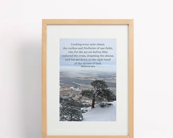 Instant Download Scripture Quote, Hebrews 12 Photo Print, Snowy Mountain Landscape, Inspirational Bible Verse, 5 Sizes, Christian Wall Decor