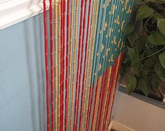 "Patriotic vintage bead curtain, 60""s retro. Room divider,  red, white, blue"