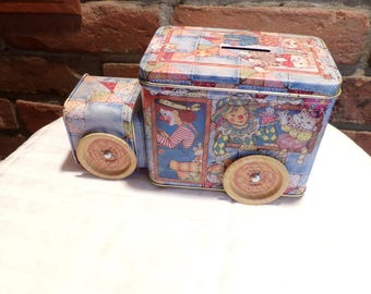 Vintage Circus tin car bank, Car tin, Truck Tin, Circus tin, collectible tin, Morethebuckles