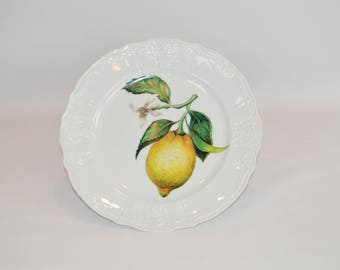 "Angelique 12"" white dinner plate (shown with image #f55 - Lemon Cutting)"