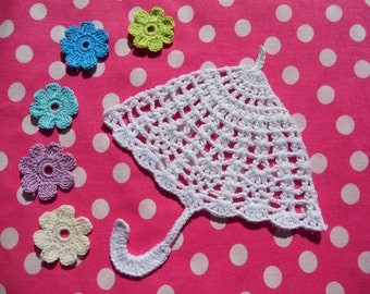 "Crochet applique "" The umbrella"" Pattern. Crochet pattern, PDF- file, donload file"