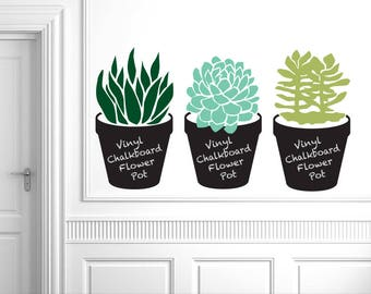 Huge Flower Pot Chalkboard with Succulent Plant: House plant Kitchen Decor, Office Decor, Plant Lover Gift (0177d)