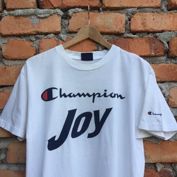 Vintage rare CHAMPION Joy Parmalat spellout streetwear hiphop t-shirt KDWdrO