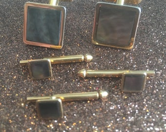 Vintage SWANK cuff links, brown mother of pearl cuff links and tie back, MCM cuff links