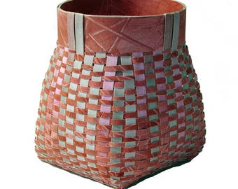 Painted watercolor paper basket