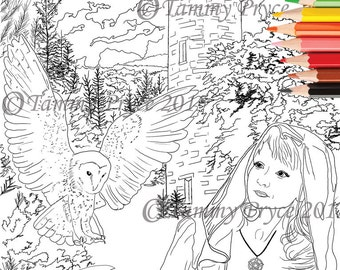 Fantasy Lady with Owl Adult Coloring Page Digi Stamp Instant Download Printable PDF