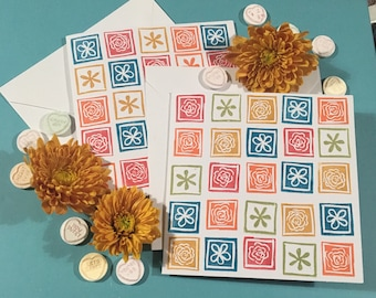 Hand Stamped Pack of 2 Cards- Multicolour Flowers *OFFER*
