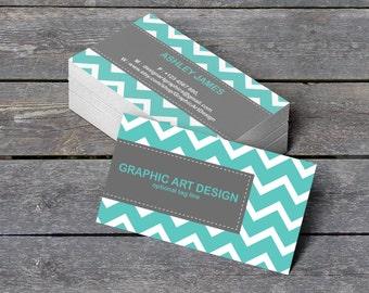 "Business Card Templates - Editable PDF - 3.5"" x 2"" Teal Chevron Professional Calling Card - Printable Business Card - DIY You Print"