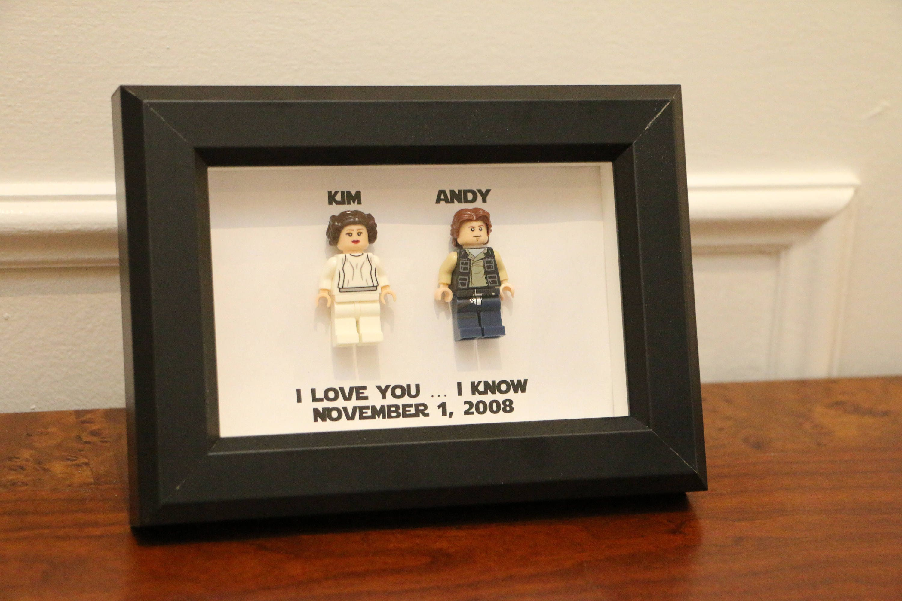 Lego I Love You I Know Framed Han Leia Star Wars Mini Figures