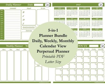 Weekly Planner Printable, Task List, Daily Planner, Weekly Schedule, Monthly Calendar, Week At a Glance, Monthly Planner, Daily Journal