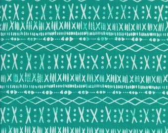 Turquoise Geometric Fabric - Print Shop by Alexia Marcelle Abegg for Cotton and Steel - Stitch Turquoise  - Fabric by the Half Yard