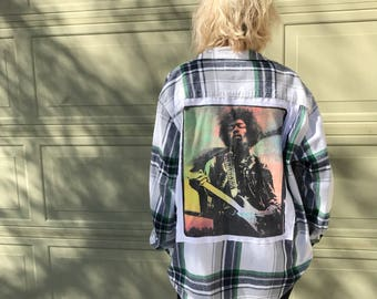 Women's Jimi Hendrix Flannel (XL) | custom made | one of a kind | vintage flannel | oversized flannel