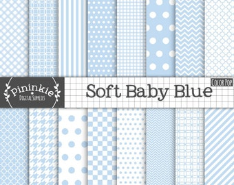 Baby Blue Digital Paper - New Baby Boy Digital Paper - Instant Download - Commercial Use CU - blue chevron, blue polka dots, bl
