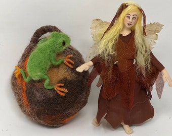 Woodland Fairy, cloth art doll, needle felted Green Tree Frog, wet felt cocoon, hanging soft sculpture, unique gift