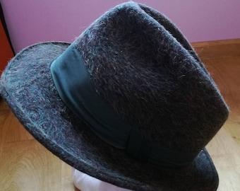 Vintage Fedora Hat/ 60s, 70s Hat/ Dark Green/ Fashion Hat/ Wool Hat
