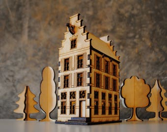 Amsterdam wooden house template for laser cut / nightlight / building kit
