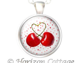 Cherries - Heart Stems and Heart Background - PENDANT and/or KEY CLIP - Digital Art - Your Choice of Finish
