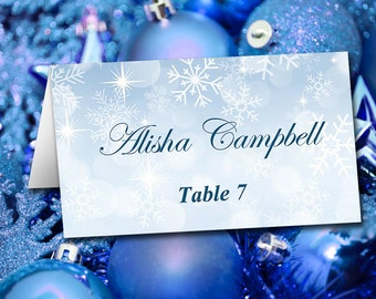 "Winter Wedding Place Cards Template   Tent Escort Card Winter Wonderland ""Snowflake Showers"" Blue   Wedding Table Card"