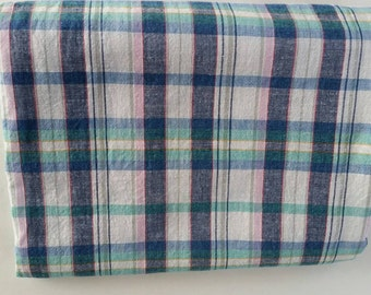 Plaid Pastel Fabric 1.5 Yards Pink, Blue and Green