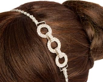 Stunning three inter-connected circles of  Preciosa Czech Crystals diamonds headband.