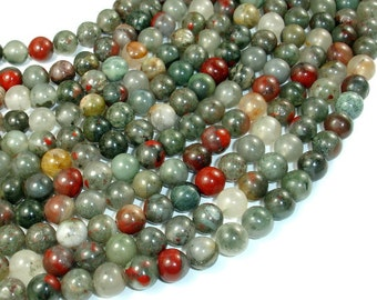 African Bloodstone, 8mm Round Beads, 15 Inch, Full strand, Approx 47 beads, Hole 1 mm (124054002)