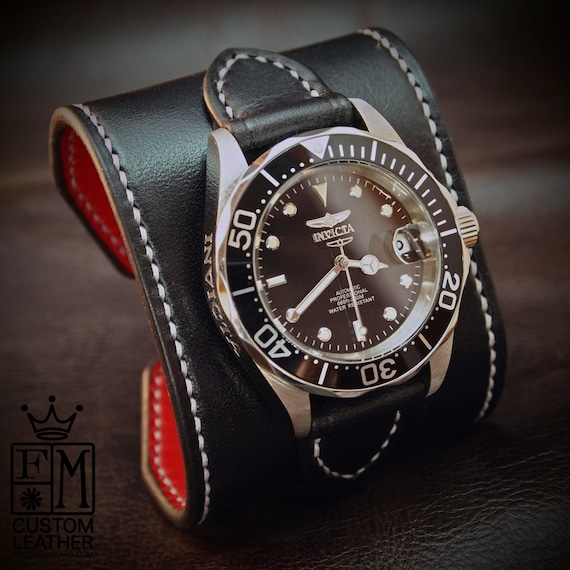 "Black Leather cuff watch INVICTA diver watch 2.25"" wide Black leather- Red calf lined Custom made for YOU in USA by Freddie Matara"