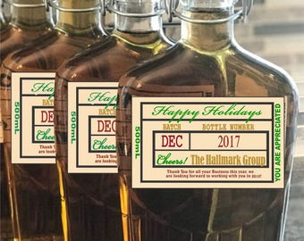 Holiday Liquor Labels - Custom Business Labels - Business Logo Whiskey Labels - Christmas Labels