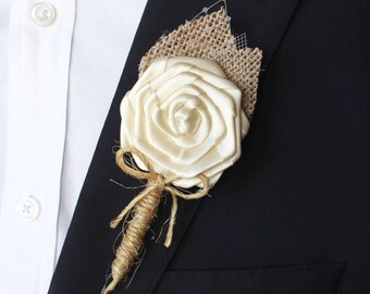 IVORY WEDDING BOUTONNIERE- Rustic Burlap Fabric Boutonniere- Fabric Flower Boutonniere