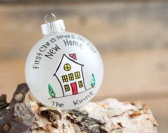 First Christmas in Our New Home - Frosted Glass Christmas Ornament - Personalized for Free