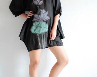 Mini dress /Tunic  Artistic.. Lotus dress Black mix silk (S-L) (1405)