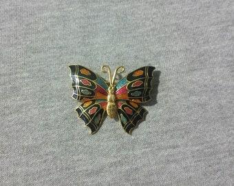 Vintage Metal Multi-color Butterfly Brooch/Pin