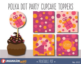 Polka Dot Birthday Party Cupcake Toppers Party Circles PRINTABLE / Party Printables / Polka Dot Decorations Girl's Birthday Party / No. 012