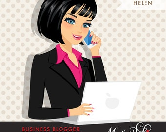 Dark Brunette Blogger Character in Business outfit with laptop and mobile. Chic Character Design for Web, Blog or Social Media