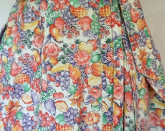 Vintage 1970's Fun Fruit Print A-Line Wrap Skirt/ Med-Large/70's Wrap Skirt