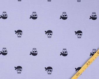 1/2 Yard Organic Cotton Jersey Knit,NOSH ORGANICS , PIRATE  Jersey  Blue -Black ,Organic Knit Fabric