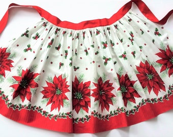 Vintage Christmas Apron Colorful Poinsettias and Holly, Bright Red Border and Ties, Retro Apron Hostess Apron Holiday Half or Waist Apron