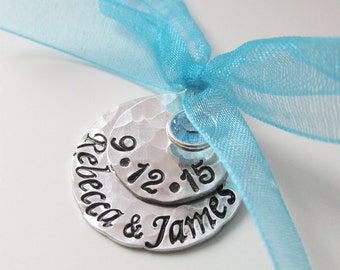 Something Blue Bridal Charm - Custom Wedding Charm - Hand Stamped Anniversary - Bride Charm - Bouquet Charm