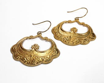 Art Nouveau Gold Earrings, Boho Earrings, Gypsy Dangle Earrings, Tribal Earrings, ORNATE Hoop Earrings, Holiday Gift - Steampunk Boutique