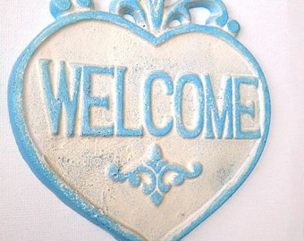 WELCOME Heart sign, Cast Iron WELCOME sign, Home Decor, Welcome Plaque, Housewarming Gift, Heart Plaque, Hand Painted